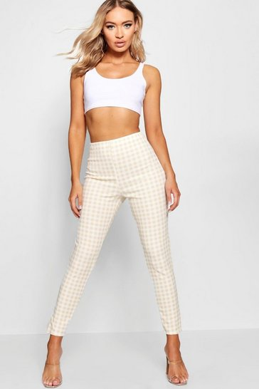 Nude High Waist Gingham Check Split Skinny Trouser