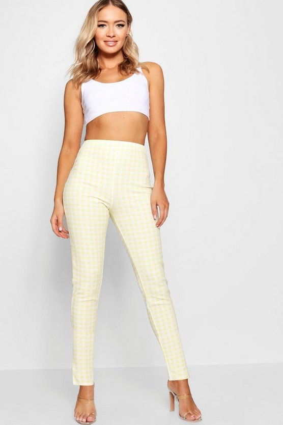 Womens Yellow Crepe Gingham Split Hem Skinny Trouser