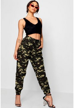 Womens High Rise Elasticated Cuff Camo Utility Trousers