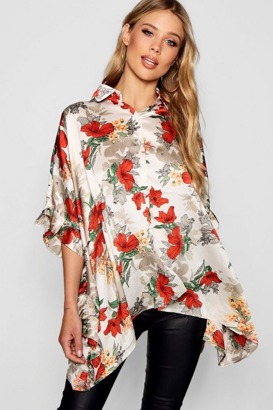 Oversized Ruffle Side Blouse