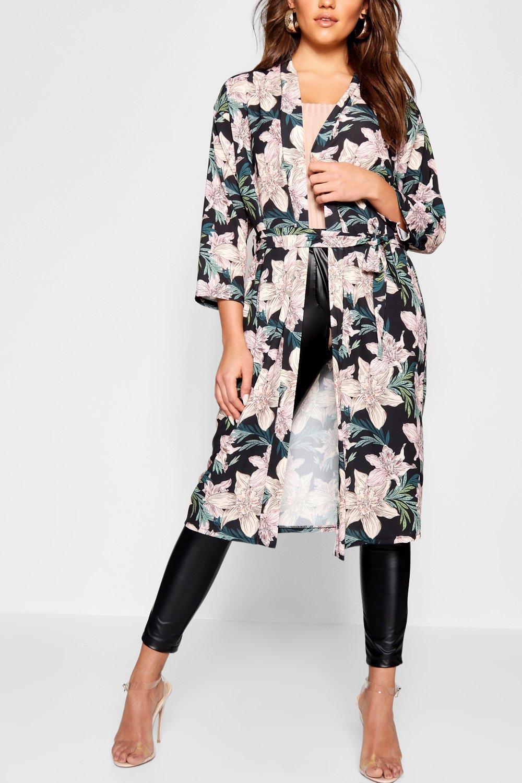 con satén floral Kimono en negro negro estampado wvRqRz