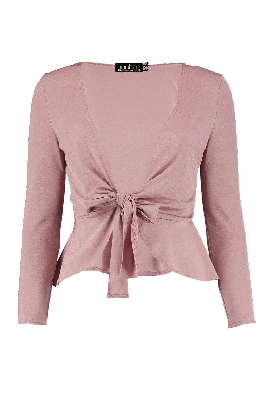 rosa elegante peplum nudo pálido Top con delante por aUSYn