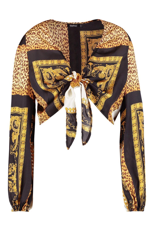 por cadena Top leopardo y nudo con negro de delante y estampado CwzrCfExnq