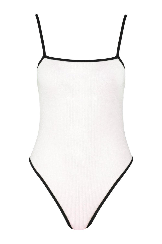 cuadrado Body en en canalé cuello contraste white con RPqIgqnO