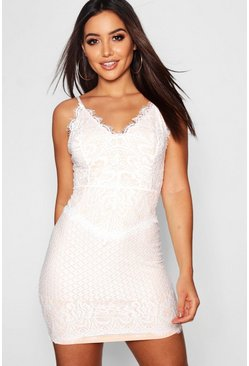 Womens White Contrast Lining Lace Bodycon Dress