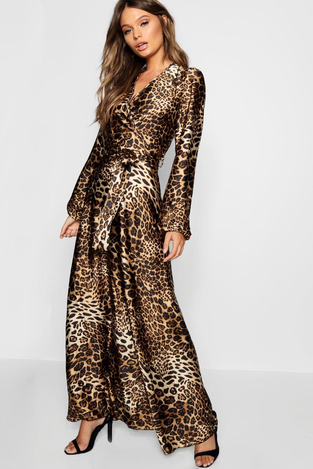 5f6a0ff5b8 Womens Leopard Print Satin Maxi Dress. Hover to zoom
