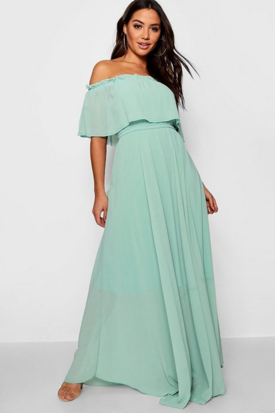Womens Green Chiffon Off The Shoulder Maxi Dress
