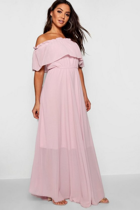 Chiffon Off The Shoulder Maxi Dress