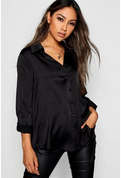 Womens Black Woven Satin Oversized Long Sleeve Shirt
