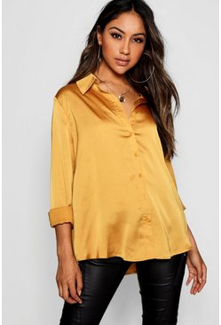 Womens Mustard Woven Satin Oversized Long Sleeve Shirt