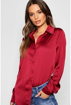 Wine Woven Satin Oversized Long Sleeve Shirt