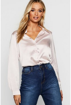 Womens Champagne Satin Oversized Shirt