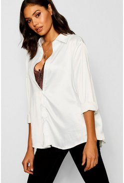Womens Ivory Satin Oversized Shirt