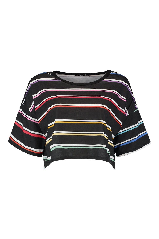a Camiseta negro arcoiris de rayas fdrnwd8q