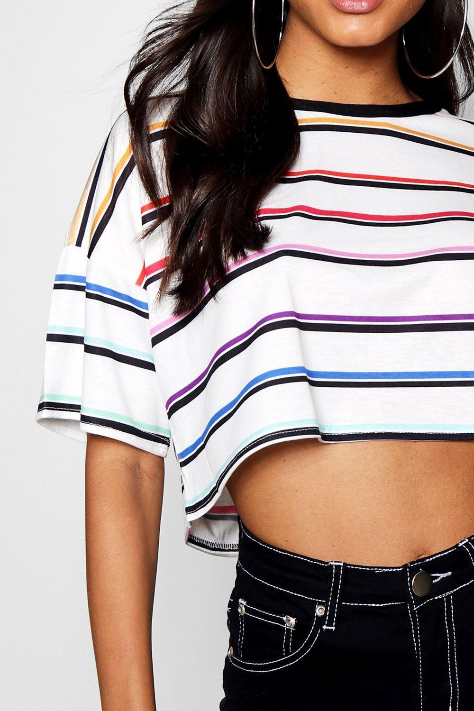 Camiseta de negro rayas a arcoiris S6vFS