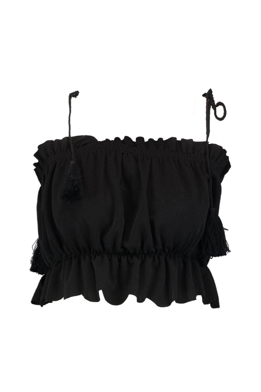 borlas negro fruncido corto con Top OnwqYtCRIx
