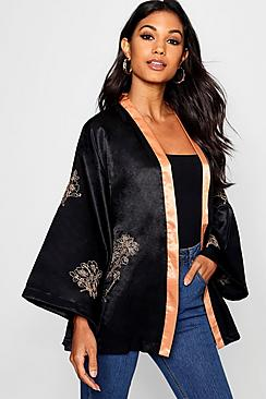 1920s Style Shawls, Wraps, Scarves Boutique Woven Satin Embroidered Kimono $36.00 AT vintagedancer.com