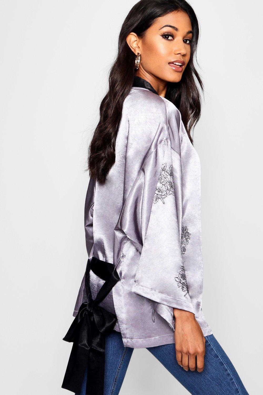 en con tejido satén Boutique negro bordados Kimono 0gSTqwxC