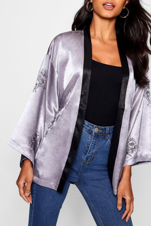 negro satén en con tejido Boutique Kimono bordados T68Hqwxp