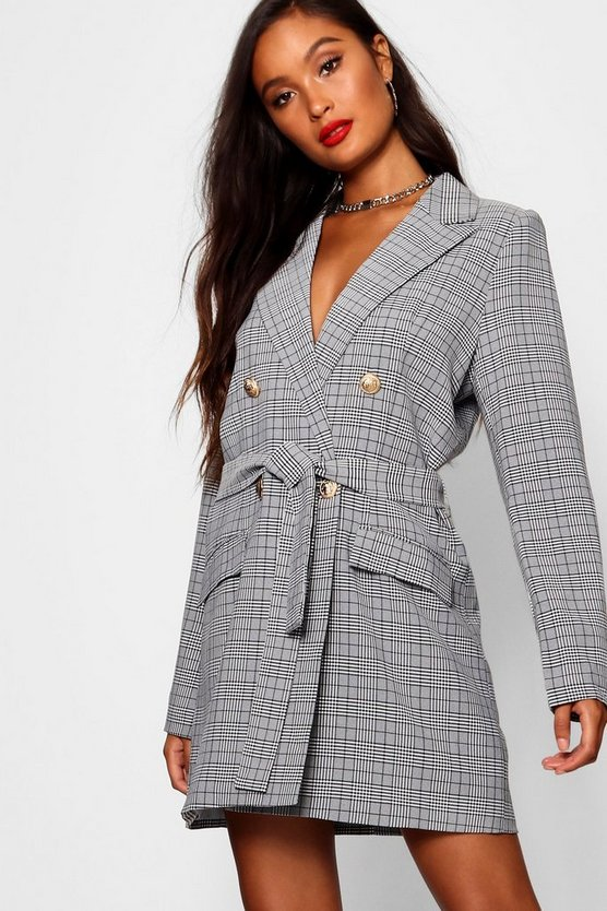 Womens Black Prince Of Wales Check Blazer Dress