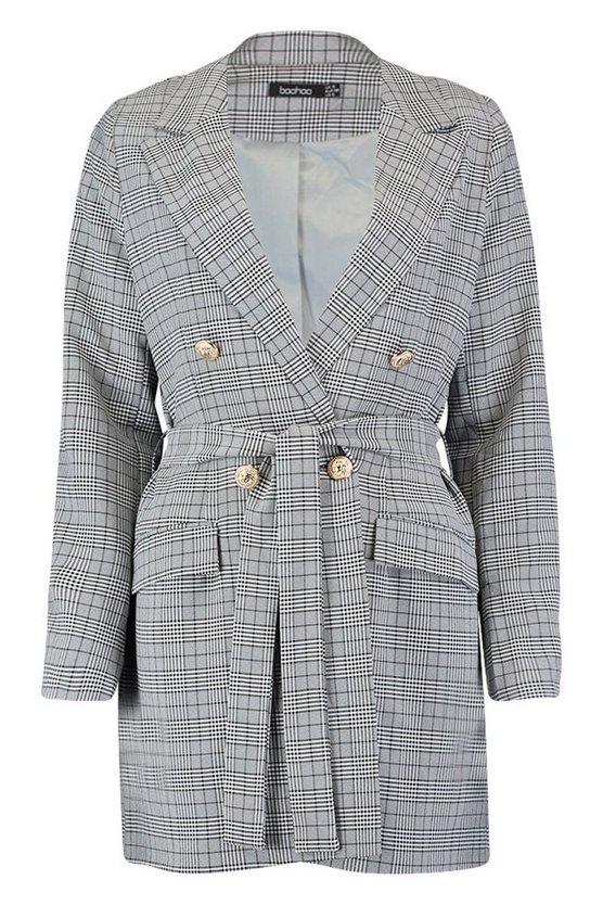 Prince Of Wales Check Blazer Dress Prince Of Wales Check Blazer Dress by Boohoo