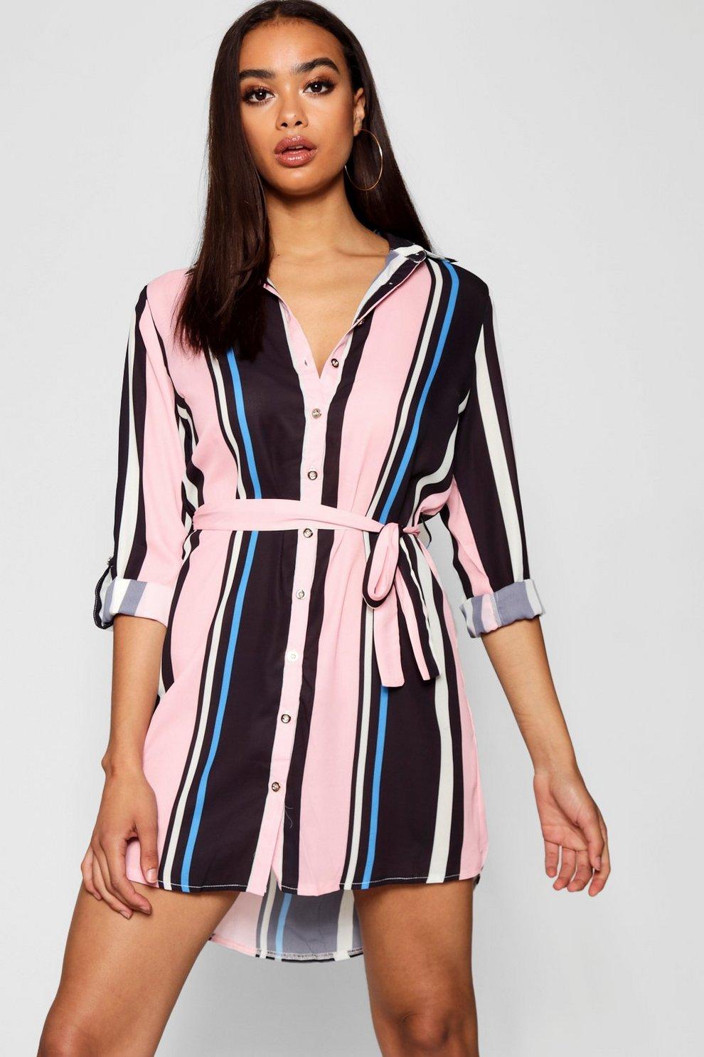 5d8e31316218d Candy Stripe Woven Shirt Dress   Boohoo