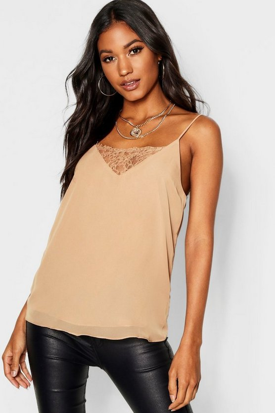 Womens Camel Lace Insert Woven Cami Top