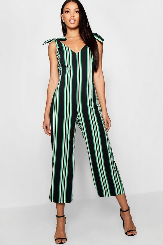 Womens Green Stripe Tie Shoulder Jumpsuit