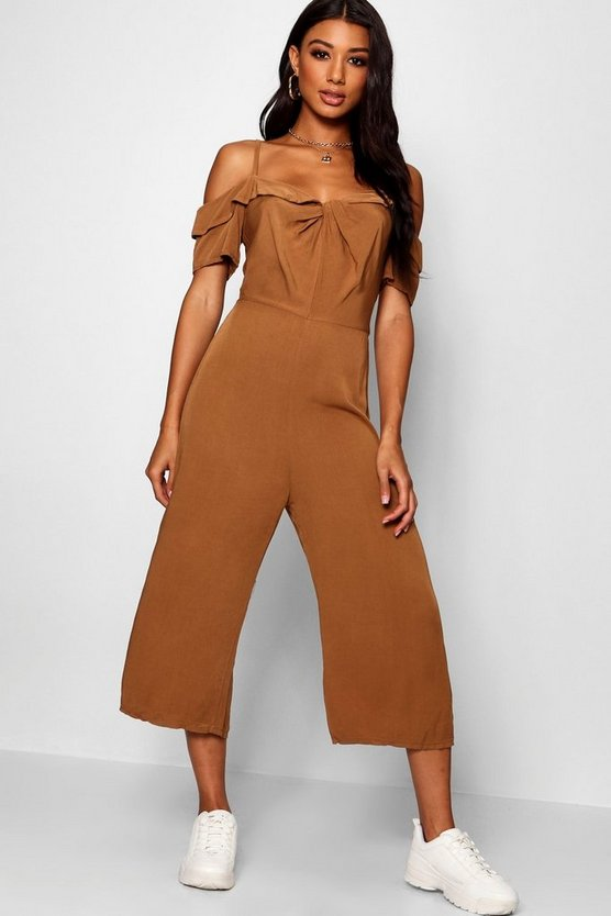 Womens Tobacco Twist Front Cold Shoulder Ruffle Jumpsuit