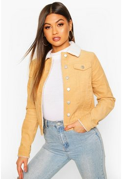 Womens Tan Borg Collar Cord Jacket