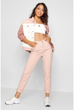 Womens Nude High Waisted Mom Jeans