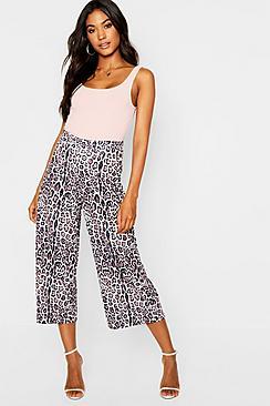 Leopard Print Wide Leg Culottes