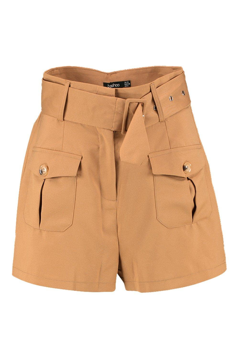 Pocket Shorts camel Button Belted Utility Cargo fYwa0q