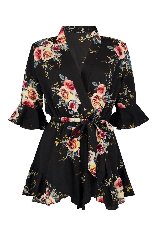 black Floral Hem Ruffle Wrap Playsuit gqvI6zqpn