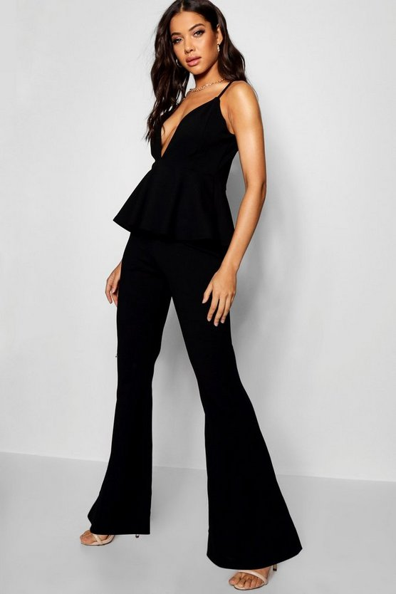 Womens Black Peplum Strappy Jumpsuit