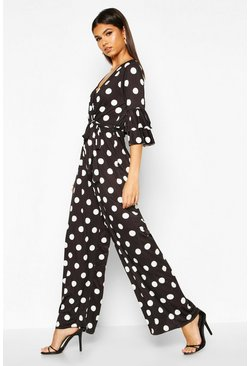 Womens Black Ruffle Sleeve Polka Dot Jumpsuit