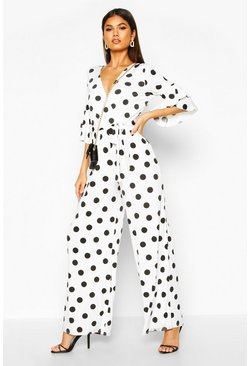 Womens White Ruffle Sleeve Polka Dot Jumpsuit