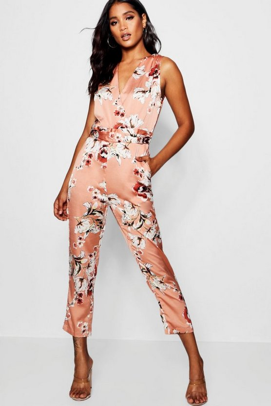 Floral Satin Wrap Jumpsuit
