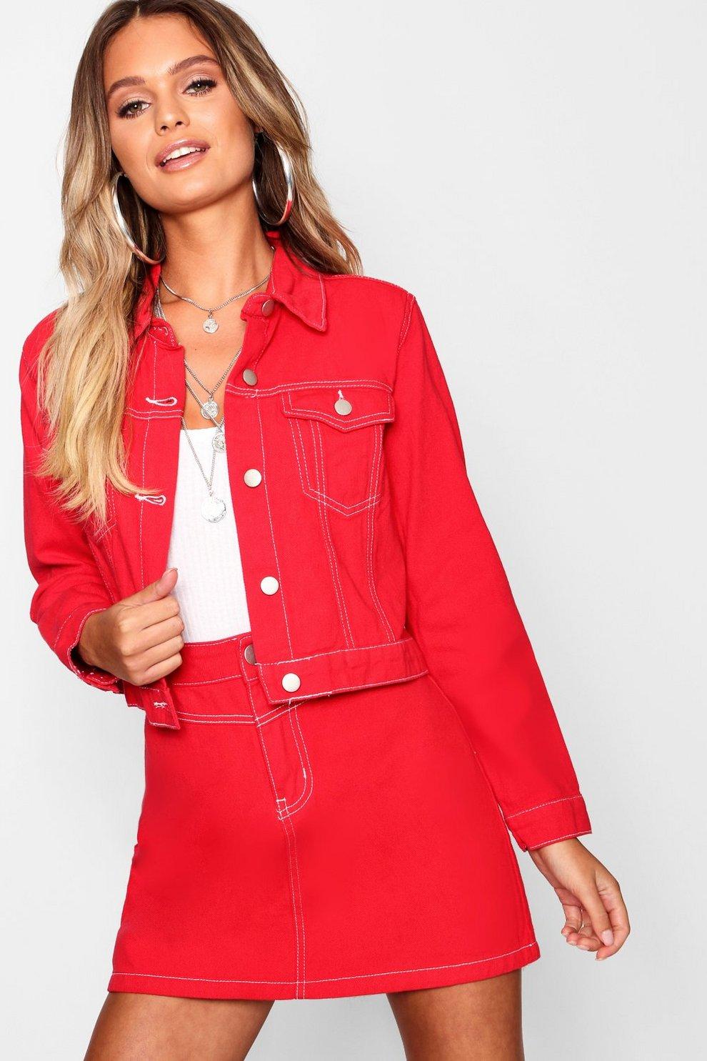 cb08ddd43d097 Red Contrast Stitch Cropped Denim Trucker Jacket | Boohoo