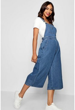 Womens Mid blue Wide Leg Cropped Rigid Denim Overall