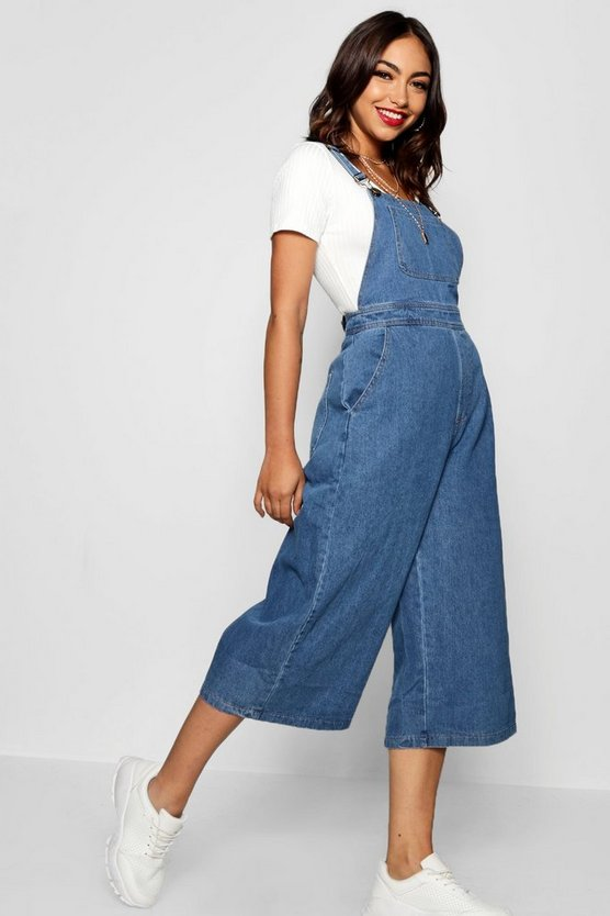 Womens Mid blue Wide Leg Cropped Rigid Denim Dungaree