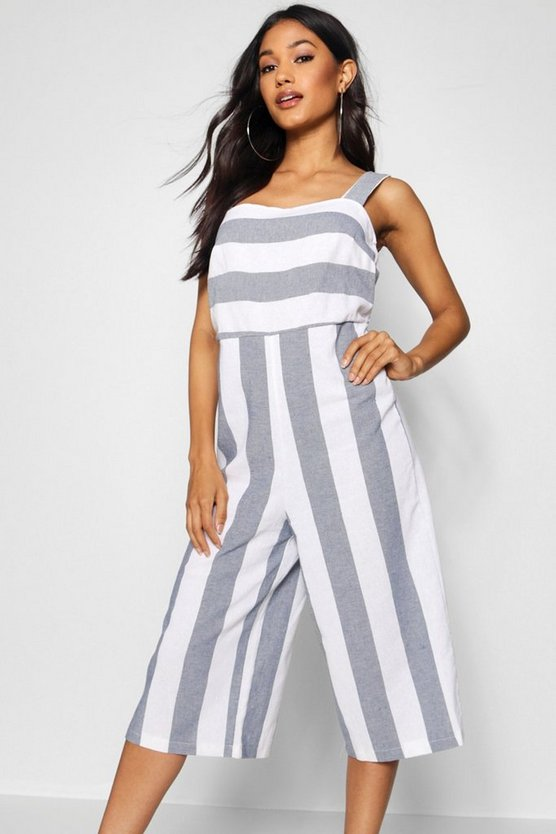 Womens Blue Linen Square Neck Wide Stripe Culotte Jumpsuit