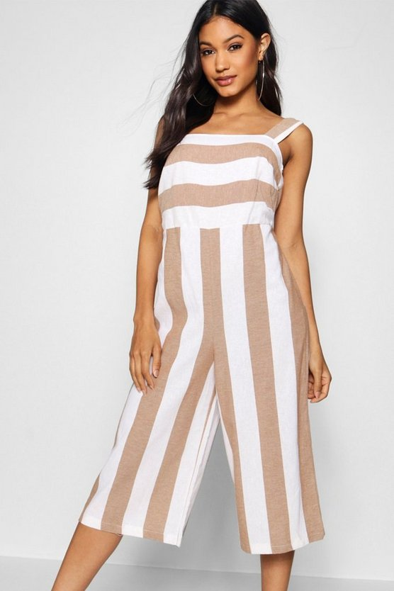 Womens Taupe Linen Square Neck Wide Stripe Culotte Jumpsuit