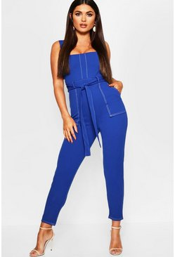 Womens Cobalt Topstitch Square Neck Pocket Jumpsuit