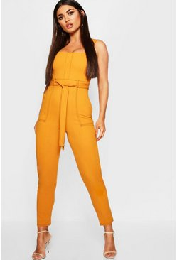 Womens Mustard Topstitch Square Neck Pocket Jumpsuit