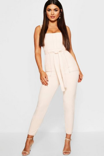 Womens Rose Topstitch Square Neck Pocket Jumpsuit