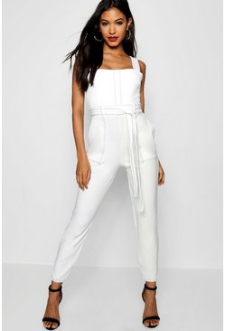 White Topstitch Square Neck Pocket Jumpsuit