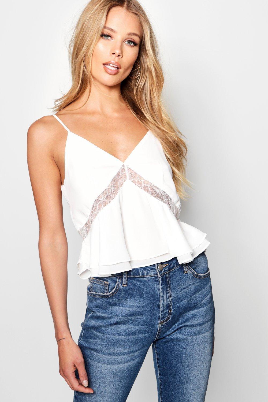 camisola Top de detalle blanco encaje tejido estilo con q57w1nTO5