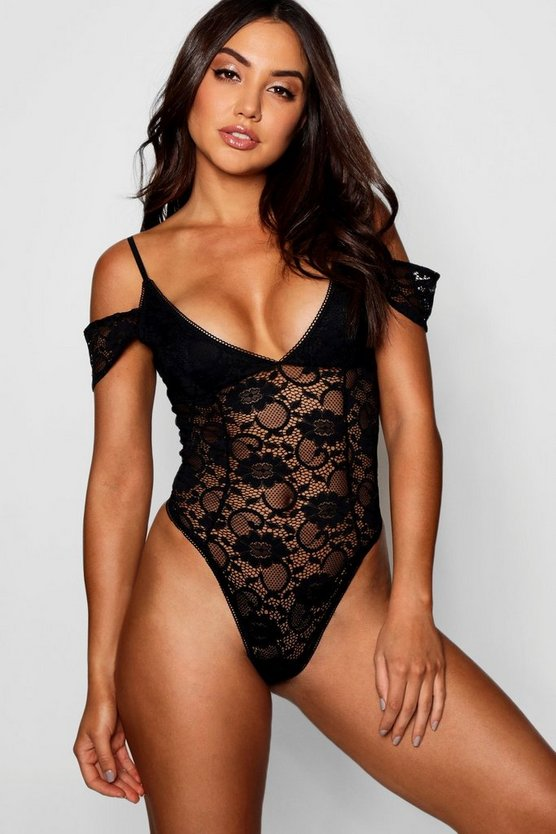 Black Cold Shoulder Lace Body