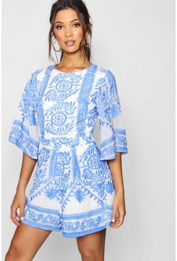 Womens Blue Embroidered Boutique Detail Romper